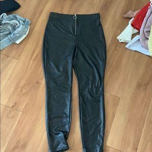 Black pleather leggings